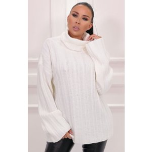 Femmeluxe Cream Ribbed Knit Polo Neck Jumper - Vogue Smcrmkw2422 Womens Clothing, cream