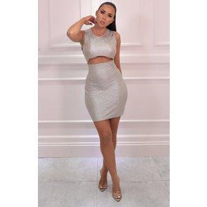 Femmeluxe Gold Metallic Cut Out Bodycon Mini Dress - Stacey 16glddr7004 Womens Dresses & Skirts, gold