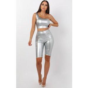 Femmeluxe Grey High Shine Vinyl Pu Shorts - Socha 6grysh2662 Womens Clothing, grey