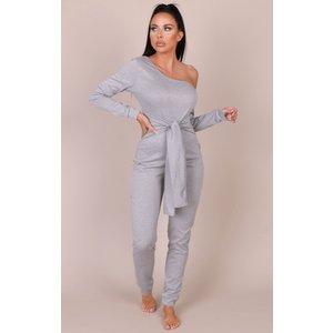 Femmeluxe Grey Marl Tie Waist One Shoulder Jumpsuit - Ryleigh 10 10grmjsa2560 Womens Clothing, grey