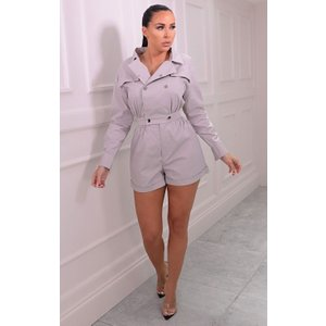 Femmeluxe Grey Utility Collar Button Detail Playsuit - Imogen 12rgd6649 Womens Clothing