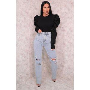 Femmeluxe Light Wash Ripped High Waisted Boyfriend Style Jeans - Dana 14 14lgwjn9872 Womens Trousers, blue