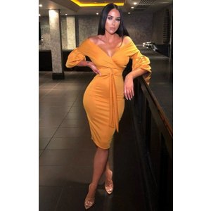 Femmeluxe Mustard Belted Bodycon Midi Wrap Dress - Angelica 10 10musdr3135 Womens Dresses & Skirts, Printed