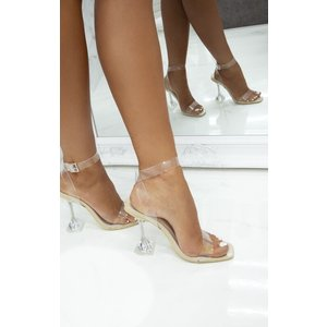Femmeluxe Nude Clear Diamond Cake Stand Strappy Heels - Charlie 3nudhl6691 Womens Clothing
