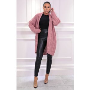 Femmeluxe Pink Knitted Long Line Cardigan - Vicki Mlpnkcr6131 Womens Clothing, pink
