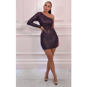 Femmeluxe Purple Iridescent One Shoulder Bodycon Mini Dress - Mariah 16purdr6952 Womens Dresses & Skirts, purple