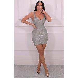 Femmeluxe Silver Glitter Cupped Bodycon Mini Dress - Stassi 6slvdr7054 Womens Dresses & Skirts, silver