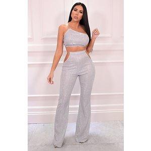 Femmeluxe Silver Glitter Cut Out Clear Strap Wide Leg Trousers - Capri 16 16slvtr7039 Womens Clothing, silver