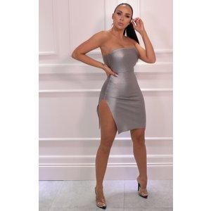 Femmeluxe Silver Metallic Strapless Bodycon Mini Dress - Farrah 16slvdr7093 Womens Dresses & Skirts, silver