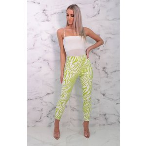 Femmeluxe White & Green Faux Leather Zebra Print Trousers - Finian 8whttr6923 Womens Clothing, animal print