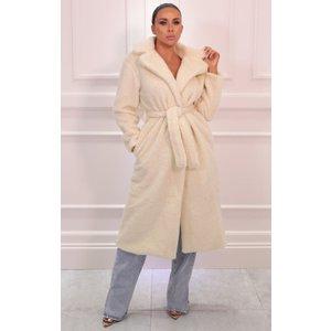 Femmeluxe White Borg Belted Teddy Midi Coat - Lexia Lwhtct7041 Womens Clothing, white