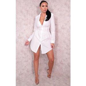 Femmeluxe White Corset Long Sleeve Mini Blazer Dress - Anwen 6 6whtdr9805 Womens Dresses & Skirts, white