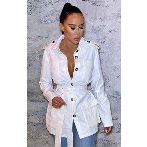 Femmeluxe White Pu Belted Utility Collar Jacket - Alain 8pnktp6640 Womens Clothing, white