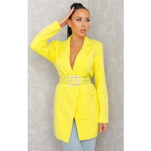 Femmeluxe Yellow Belted Blazer Dress - Bonnie Mwhtdra1064 Womens Dresses & Skirts, yellow