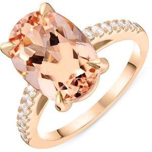 Tivon Fine Jewellery 18ct Rose Gold 4.48ct Morganite Diamond Oval Cut Ring