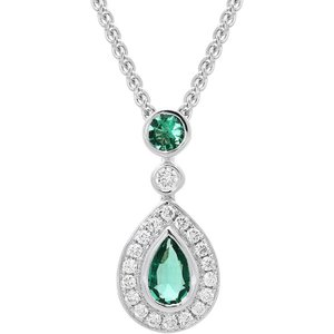 C W Sellors Precious Gemstones 18ct White Gold 0.44ct Emerald Diamond Pear Drop Necklace