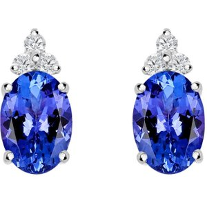 C W Sellors Precious Gemstones 18ct White Gold 0.90ct Tanzanite Diamond Oval Stud Earrings
