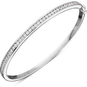 C W Sellors Diamond Jewellery 18ct White Gold 1.01ct Diamond Stone Slot Bangle