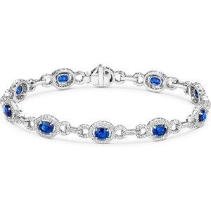 Tivon Fine Jewellery 18ct White Gold 5.03ct Sapphire 1.96ct Diamond Bracelet, White Gold