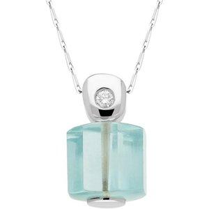 C W Sellors Diamond Jewellery 18ct White Gold Aqua Crystal Diamond Unique Necklace