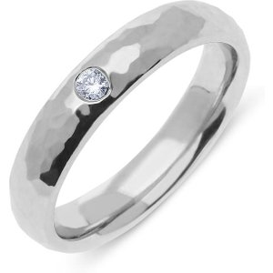 C W Sellors Diamond Jewellery 18ct White Gold Diamond Textured Wedding Ring