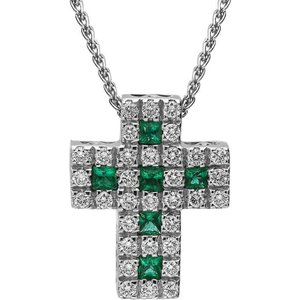 C W Sellors Precious Gemstones 18ct White Gold Emerald Diamond Cross Necklace , White Gold