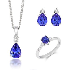 Tivon Fine Jewellery 18ct White Gold Tanzanite Diamond Three Piece Gift Set