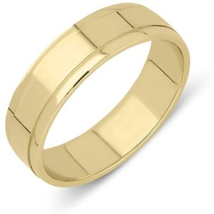 18ct Yellow Gold 6mm Dipped Edge Wedding Ring