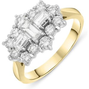 C W Sellors Diamond Jewellery 18ct Yellow Gold Diamond Baguette Cut Cluster Ring