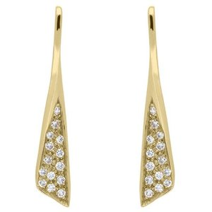 C W Sellors Diamond Jewellery 18ct Yellow Gold Diamond Pave Set Drop Earrings