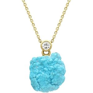 C W Sellors Precious Gemstones 18ct Yellow Gold Diamond Turquoise Unique Necklace