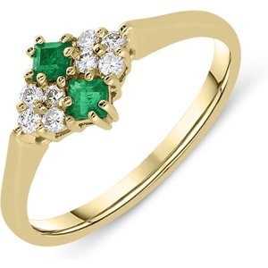 C W Sellors Precious Gemstones 18ct Yellow Gold Emerald Diamond Princess Cut Cluster Ring