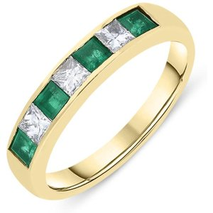 C W Sellors Precious Gemstones 18ct Yellow Gold Emerald Diamond Princess Cut Half Eternity Ring