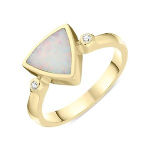 C W Sellors 18ct Yellow Gold Opal 0.04ct Diamond Curved Triangle Ring