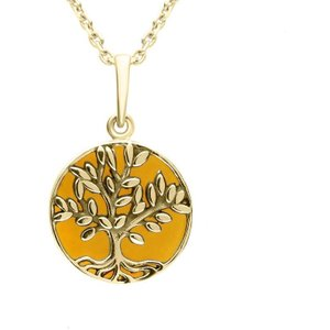 C W Sellors 9ct Yellow Gold Amber Small Round Large Leaves Tree Of Life Necklace , Yellow Gold