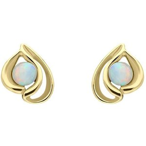 C W Sellors Precious Gemstones 9ct Yellow Gold Opal Open Teardrop Stud Earrings