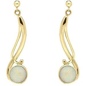 C W Sellors Precious Gemstones 9ct Yellow Gold Opal Round Scroll Drop Earrings