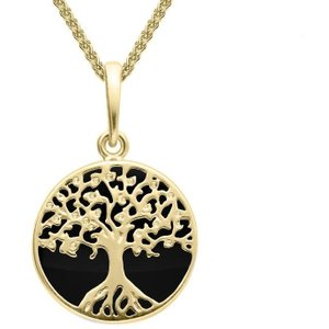 C W Sellors 9ct Yellow Gold Whitby Jet Small Round Tree Of Life Necklace
