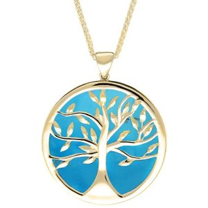 C W Sellors 9ct Yellow Turquoise Large Round Tree Of Life Necklace