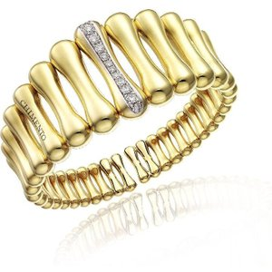 Chimento Bamboo Over 18ct Yellow Gold 0.69ct Diamond Iconic Wide Cuff