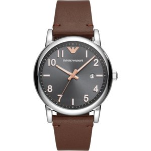 Emporio Armani Watch Three Hand Mens Grey , Grey