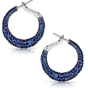 Faberge Emotion 18ct White Gold Sapphire Hoop Earrings