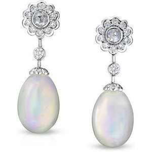 Faberge Imperial Karenina 18ct White Gold Opal Diamond Earrings