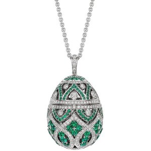 Faberge Imperial Zenya Emerald Pendant Silver , Silver