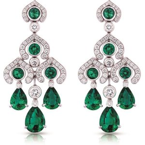 Faberge Three Colours Of Love White Gold Emerald Chandelier Earrings
