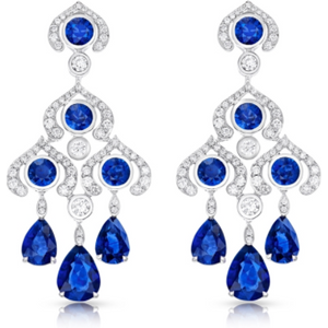 Faberge Three Colours Of Love White Gold Sapphire Chandelier Earrings