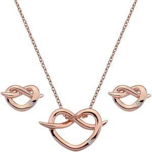 Hot Diamonds Infinity Rose Gold Plated Heart Set Silver , Silver