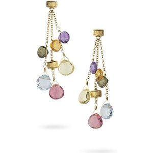 Marco Bicego Paradise 18ct Yellow Gold Mixed Stone Three Strand Drop Earrings