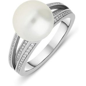 Mikimoto 18ct White Gold Diamond 11mm White South Sea Pearl Ring