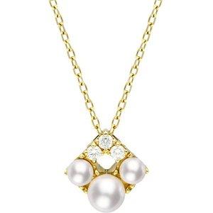 Mikimoto Falling Flakes 18ct Yellow Gold 0.10ct Diamond Pearl Necklace , Yellow Gold